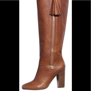 COACH THERESE TALL RIDING LEATHER CINNAMON BOOTS